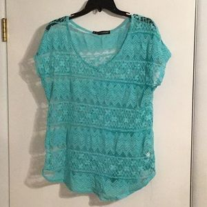 Sheer aqua blue Maurice's top